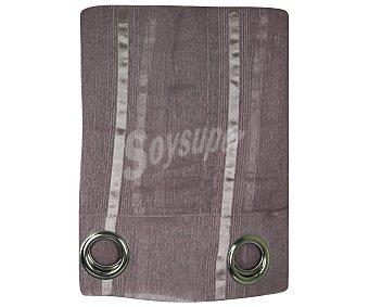 Auchan Visillo con ollaos color morado, tejido chenilla y detalles de pespuntes, 140x260 centímetros auchan