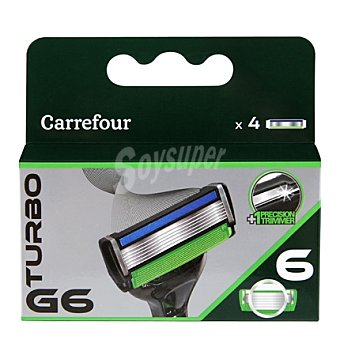 Carrefour Recambio maquinilla 6 hojas Turbo G6 4 ud
