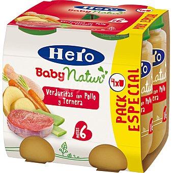 HERO BABY Natur tarritos de verdura de la huerta con pollo estuche 940 g pack 4x235g