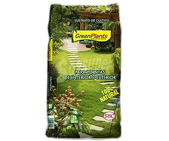 GREEN PLANTS Sustrato universal 100% natural para plantas de interior y exterior 25 litros