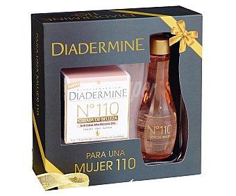 Diadermine Estuche para mujer con crema de belleza nº 110 (50ml), anti-edad, alta eficacia y de día (hidrata-alisa-ilumina) más un aceite de belleza para cara y cuertpo (100ml) 1 unidad