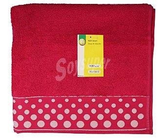 Productos Económicos Alcampo Toalla de ducha 100% algodón color rosa fucsia con cenefa estampado Topos, densidad de 360 gramos/m², 70x130 centímetros 1 unidad
