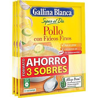 Gallina Blanca Sopas al día de pollo con fideos finos 3 sobres 80 g