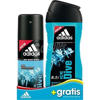 Adidas Ice Dive desodorante for men + gel de baño frasco 250 ml gratis spray 150 ml