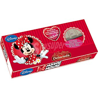 Delaviuda Turrón de chocolate con leche, chocolate blanco y perlas de chocolate Minnie Mouse Disney Tableta 200 g