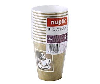 Nupik Vasos desechables de cartón especiales para café, 0,25 litros de capacidad 12 unidades