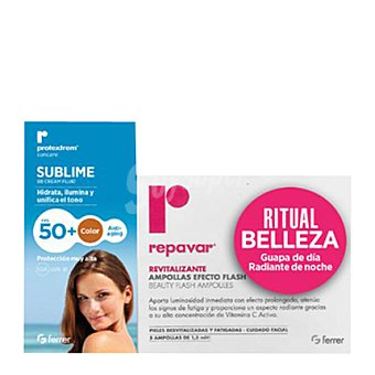 Protextrem Pack protector solar Sublime FP 50 + ampollas efecto flash revitalizante 1 ud