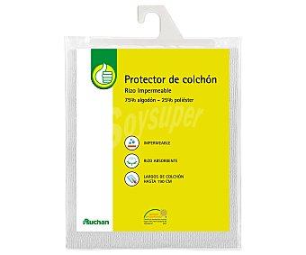 PRODUCTO ECONÓMICO ALCAMPO Protector de colchón 105 centímetros, rizo, impermeable 1 Unidad