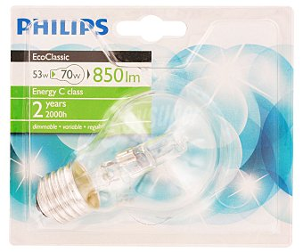 Philips Bombilla halógena Ecoclassic 53W blanco cálido. E27, 230V 1 Unidad