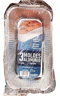 Aliberico Molde desechable aluminio rectangular tapa 1,5 kg. ( plum cake ) Paquete de 3 unidades