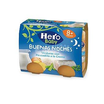 Hero Baby Buenas Noches Tarritos de verduras con pescadilla a la crema desde 8 meses envase 380 g 2x190g