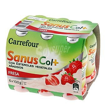 Carrefour Yogur líquido Sanuscol Fresa 6 unidades de 100 g