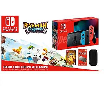 NINTENDO Switch Videoconsola Nintendo Swtich joy-cons azul y rojo neón mas juego Rayman Legends, funda de tranporte y cristal templado, nintendo.