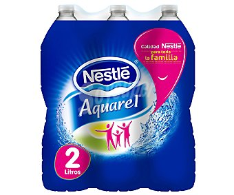 Nestlé Agua mineral natural nestle aquarel pack de 6 botellas 2 litros