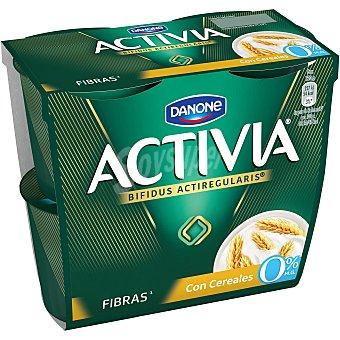 Activia Danone Yogur fibras con cereales 0% Pack 4 unidades 125 g