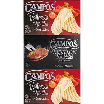 Campos Lote 2 latas ventresca de atún + 1 lata de mejillones en escabeche 8-12 piezas Envase 226 g