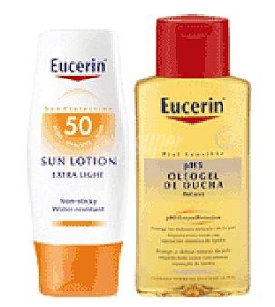 Eucerin Loción solar textura ligera con FP50 + Regalo de Oleogel de ducha 200 ml. 150 ml