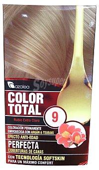 AZALEA Tinte coloración permanente color total n 9 rubio extra claro (enriquecido con aceite argan y tsubaki) 1 caja