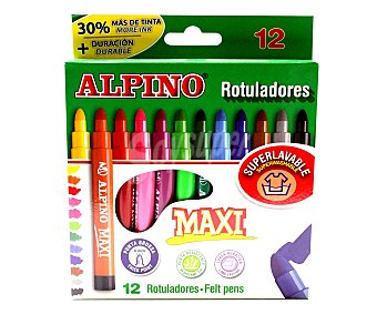 Alpino Caja de 12 rotuladores con punta y cuerpo gruesos, grosor de trazado de 6 milímetros, tinta superlavable de larga duración y de diferentes colores 1 unidad