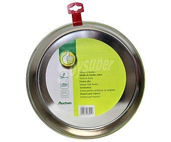 Productos Económicos Alcampo Molde redondo metálico con borde alto, 28 centímetros de diámetro, resistente hasta 200ºC 1 Unidad