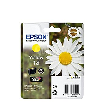Epson Cartucho para impresora Amarillo Nº18 Margarita Compatible con impresoras: XP-30 /XP-102 / XP-202 / XP-205 / XP-212 / XP215 / XP 302 / XP-305 / XP-312 / XP-315 / XP-402 / XP.405 /XP-412 / XP-415