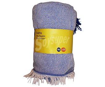 Productos Económicos Alcampo Colcha lisa color azul para cama individual, 150x250 centímetros 1 unidad