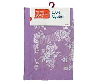 AUCHAN Mantel individual estampado color violeta, 100% algodón, 35x50 centímetros 1 Unidad
