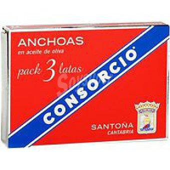 Consorcio Filete de anchoa en aceite de oliva Pack 3x29 g