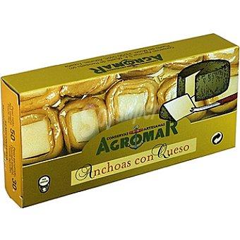 Agromar Rollos de filetes de anchoa en aceite de oliva rellenos de queso Lata 30 g neto escurrido