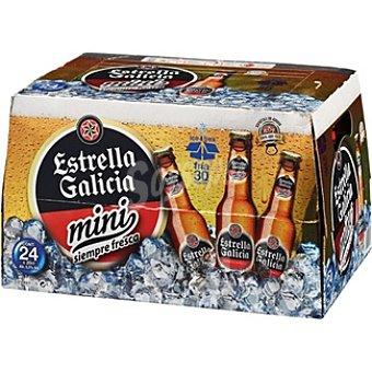 ESTRELLA GALICIA cerveza rubia nacional especial mini  pack 24 botellas 20 cl