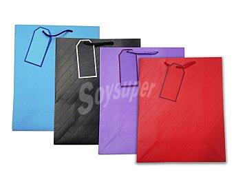 DMM Bolsa para regalos lisa, con relieve, de colores azul, rojo, negro o lila y tamaño de 18x23x10 centímetros 1 unidad