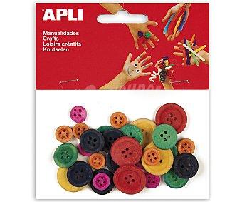 APLI Bolsa de 30 botones de madera de diferentes colores y tamaños apli