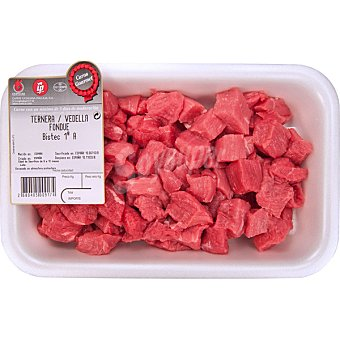 Gourmet Ternera carne troceada para fondue 1ª A peso aproximado Bandeja 400 g