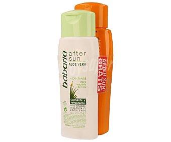 Babaria Leche solar con factor protección 30 (alto), especial pieles sensibles más after sun con aloe vera (calmante y refrescante) 350 mililitros