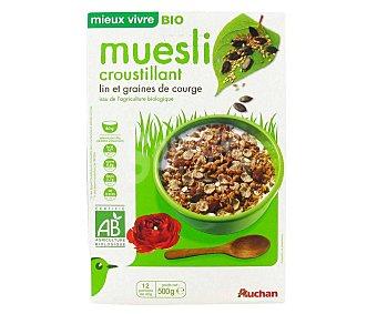 Auchan Cereales muesli con lino y semillas de calabaza ecológicos 500 g