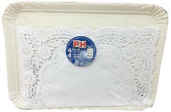 P & H Bandeja desechable carton rectangular 25x34 cm + blonda papel blanco 4 u 31x38 cm Paquete 4 u