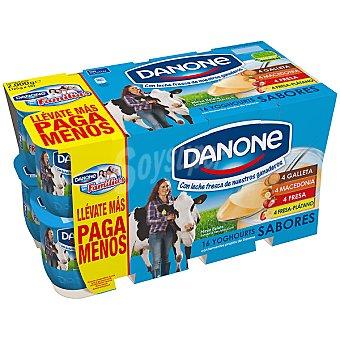 Danone Yogur de sabores (4 fresa, 4 macedonia, 4 fresa-plátano, 4 galleta)   Pack 16x125 g