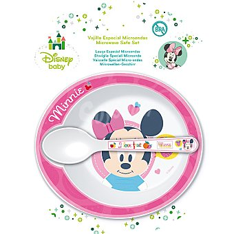 DISNEY Minnie set de cuenco y cuchara en color rosa