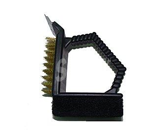 GARDEN STAR Cepillo limpia barbaoas 3 en 1, cepillo de latón, esponja de plástico y rascador de acero inoxidable 1 unidad