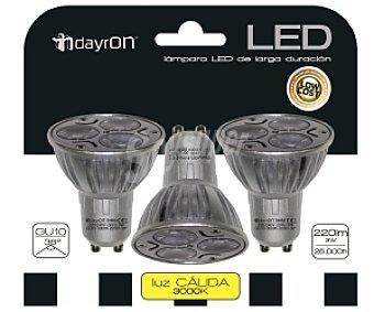 Dayron Focos led dicroicos casquillo GU10, 3 Watios, luz cálida 3 unidades