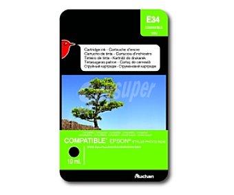 Auchan Cartucho Negro T0551 (E34) - Compatible con impresoras: epson Stylus Photo R240 / R245 / RX420 / RX425 / RX520
