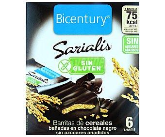 Bicentury Barritas de cereales y chocolate negro sin azúcares añadidos sin gluten Sarialis 6 unidades ( envase 87 g)