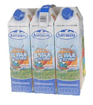 Central Lechera Asturiana Leche semidesnatada Pack de 8 botellas de 1 l