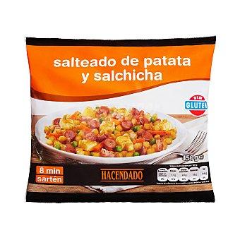 Hacendado Salteado patata y salchicha (con guisantes, zanahoria, tortilla, cebolla y bacon) congelado Paquete 450 g