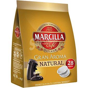 MARCILLA GRAN AROMA Café natural 28 monodosis para cafetera Senseo paquete 210 g 28 monodosis