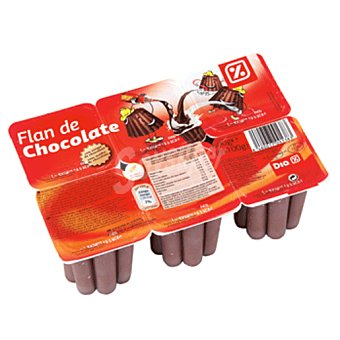 DIA Flan chocolate con sirope pack 6 unidades 100 g Pack 6 unidades 100 g