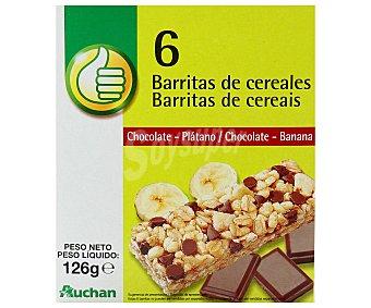 Productos Económicos Alcampo Barritas de cereales con pepitas de chocolate con leche y trocitos de plátano 6 unidades 125 gramos