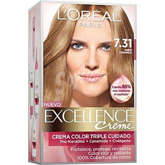 Excellence L'Oréal Paris Tinte Rubio Caramelo nº 7.31 crema color triple cuidado caja 1 unidad con Pro-keratina + Ceramida + Colágeno Caja 1 unidad