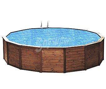 GRE Piscina redonda rígida con estructura de acero reforzado, escalera y depuradora, 460x120 centímetros, 19943.5 litros 1 unidad