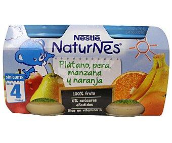 NESTLE NATURNES Tarritos de platano pera manzana y naranja 100% fruta sin azucares añadidos desde 4 meses pack 2 x 130 g